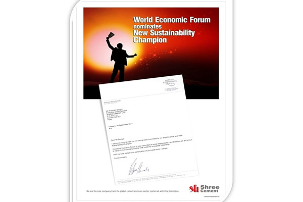 Recognised as 'New Sustainability Champion' by World Economic Forum