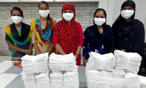 Masks made for distribution under the Shree Shakti Yojana project